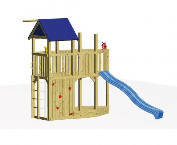 """Kinderspielhaus Set """"CORSAR"""" als Piratenschiff, mit Rutsche und Sandkasten"""