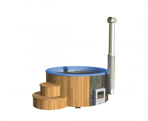 Badebottich 200cm mit blauen Fiberglas Einsatz fertig montiert, mit Außenofen