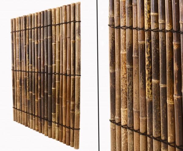 "Bambus Zaun ""Apas11"", schwarz-braune Bambusrohre 5 - 6cm mit 150 x 120cm"