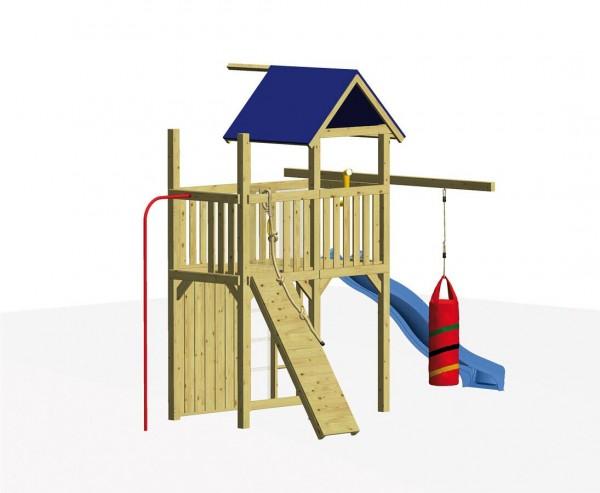 """Spielturm Set """"FIREMAN"""" mit Rutsche, Klettersteg, Boxsack und Feuerwehrstange"""