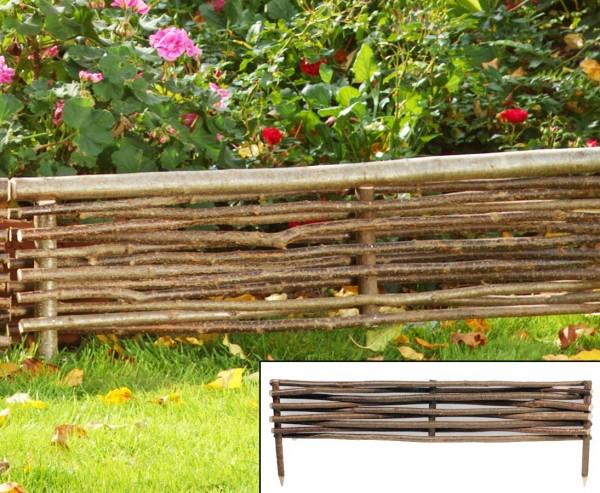 Beetumrandung, Amersee mit 100x 20cm aus Haselnussruten, mit Erdspieße ca. 15cm, natur