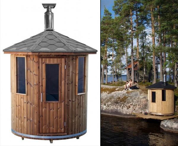 Finische Saunafass mit Holzofen, Durchmesser 180cm