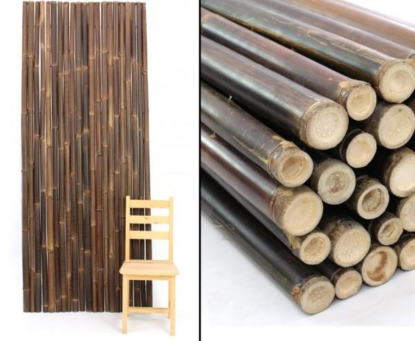 Bambuszäune braun schwarz gerollt 150x250cm mit Draht verbunden, Bambusrohre 4-6cm