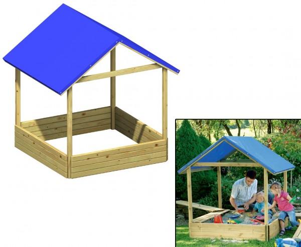 """Sandkasten """"Moritz"""" mit blauem PE-Dach, Bausatz mit 162 x 134 x 134cm"""