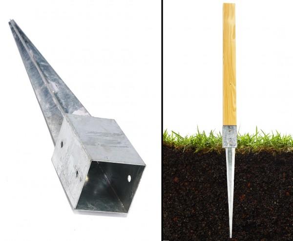 Einschlagbodenhülsen 90cm für Zaunpfosten mit 9x9cm