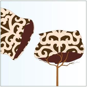 Jutesäckchen für den Winterschutz von Kronen, im Ornament Design H:110 x B:60cm, braun/ beige farbig