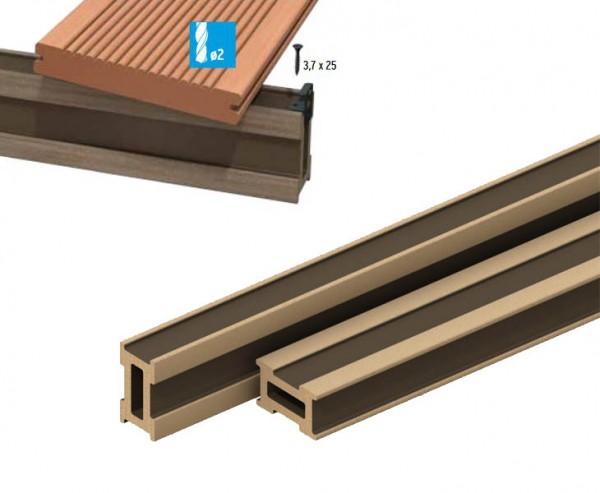 WPC Terrassen Dielen UK universal 400cm, Leiste mit 7x4cm