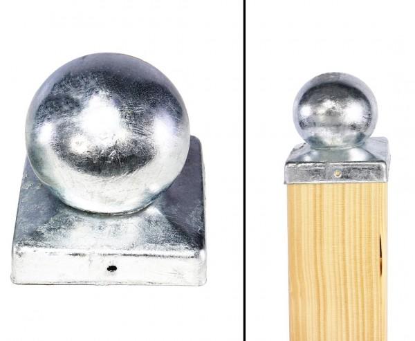 Pfostenkappe mit Kugel für 9x9cm Pfosten aus feuerverzinktem Stahl